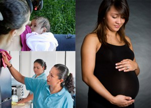 Pregnant woman, child, workers