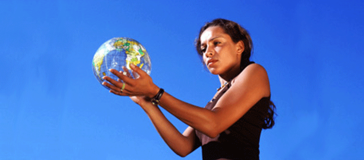 Woman holding earth