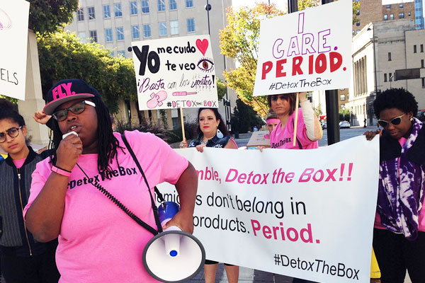 Women rally outside of P&G headquarters