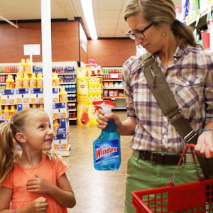 mother daughter worried about chemicals in cleaning products