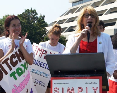Rep. Linda Rosenthal speaks on Summer's Eve rally