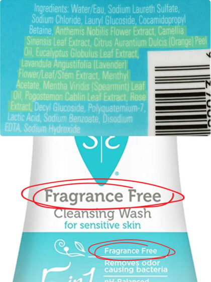 misleading labels on Summer's Eve washes contain fragrance